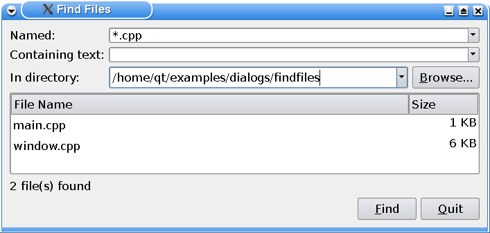 Qt 4 1: Find Files Example