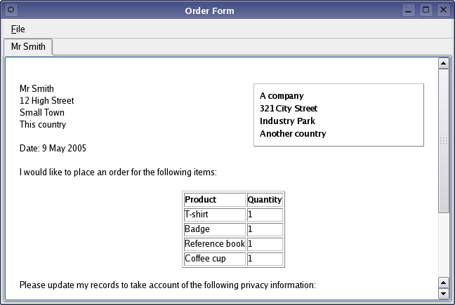 examples of purchase order forms – Simple Order Form